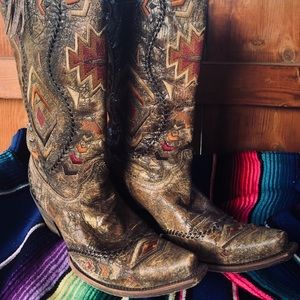 Aztec Embroidered Corral western Boots